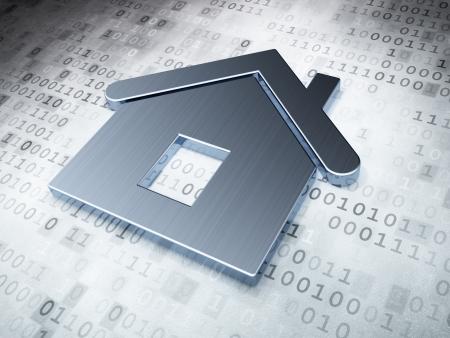 Protección concepto Silver Home en el fondo digital, 3d