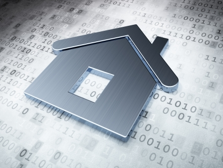 protect home: Protection concept  Silver Home on digital background, 3d render
