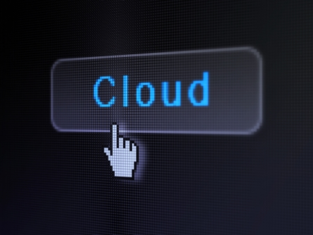 Cloud computing concept  pixelated words Cloud on button whis cursor on digital computer screen background,  selected focus 3d render photo