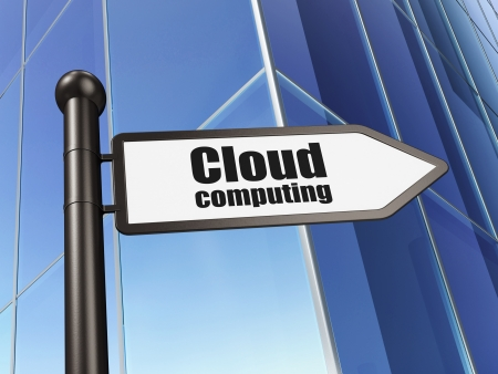 Cloud technology concept  Cloud Computing on Building background, 3d render photo