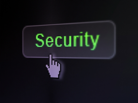 Safety concept  pixelated words Security on button whis cursor on digital computer screen background, selected focus 3d render photo