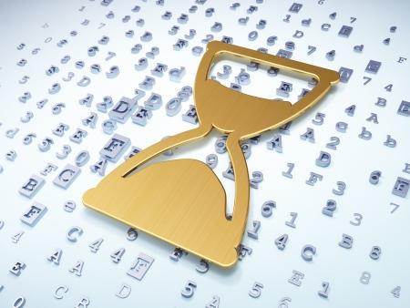 chronologie: Time concept sablier d'or sur fond num�rique, rendu 3d