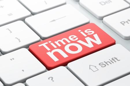 Tiempo concepto de teclado de la computadora con la palabra tiempo es ahora, el enfoque seleccionado en introducir fondo de bot�n, 3d Foto de archivo