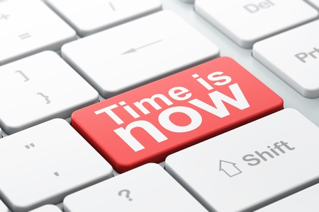Tiempo concepto de teclado de la computadora con la palabra tiempo es ahora, el enfoque seleccionado en introducir fondo de botón, 3d Foto de archivo