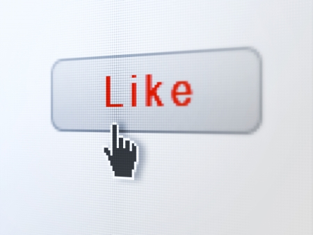 Social network concept  pixelated words Like on button whis cursor on digital computer screen background, selected focus 3d render Stock Photo - 19820420