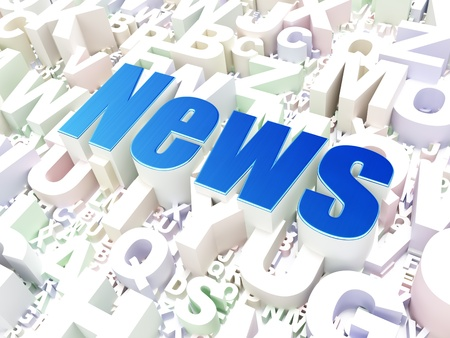 News concept  News on alphabet  background, 3d render photo