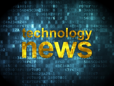 News concept  pixelated words Technology News on digital background, 3d render Stock Photo - 19820348