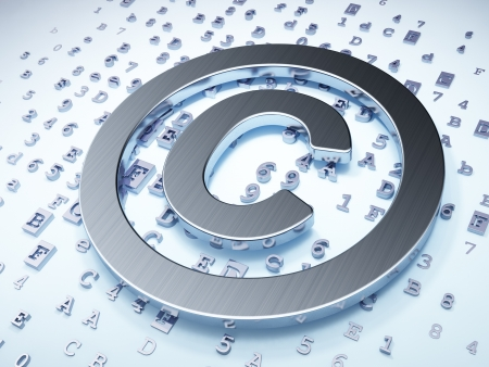 Law concept  Silver Copyright on digital background, 3d render Stock Photo - 19830353