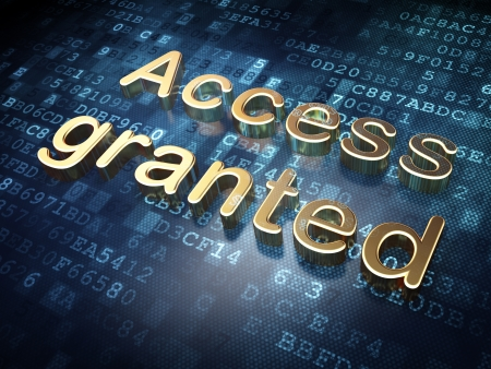 access granted: Security concept  Golden Access Granted on digital background, 3d render