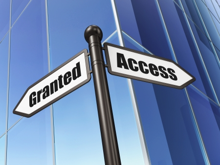 access granted: Privacy concept  Access Granted on Building background, 3d render