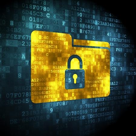 to lock: Business concetto pixelated sull'icona della cartella su sfondo digitale, rendering 3d Archivio Fotografico