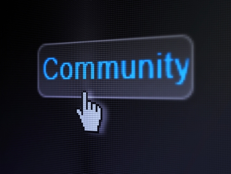 Social network concept  pixelated words Community on button whis cursor on digital computer screen background, selected focus 3d render photo