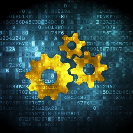 Marketing concept  pixelated Gears icon on digital background, 3d render photo