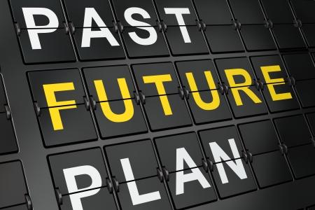 chronology: Tiempo Concepto futuro sobre fondo tablero aeropuerto, 3d