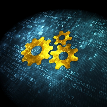 Data concept  pixelated Gears icon on digital background, 3d render Stock Photo - 19830743