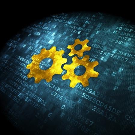 Gegevensconcept korrelig Gears pictogram op digitale achtergrond, 3d render Stockfoto