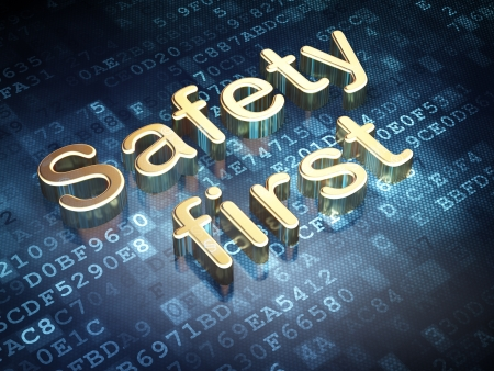 Protection concept  Golden Safety First on digital background, 3d render photo
