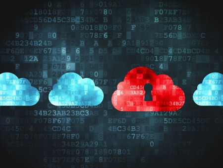 Cloud computing concept  pixelated Cloud Whis Keyhole icon on digital background, 3d render Stock Photo - 19830666