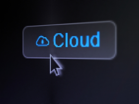 Cloud technology concept  pixelated words Cloud and Cloud Whis Padlock icon on button whis Arrow cursor on digital computer screen background, selected focus 3d render photo