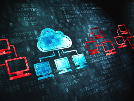 Cloud computing concept  pixelated Cloud Technology icon on digital background, 3d render photo