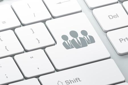 Nieuws concept van Enter-knop met Zakenmensen op computer toetsen bord achtergrond, 3d render