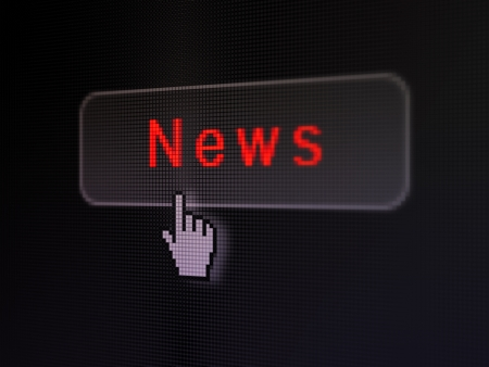 News concept  pixelated words News on button whis Hand cursor on digital computer screen background, selected focus 3d render photo