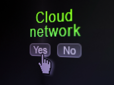no cloud: Networking concept  buttons yes and no with pixelated word Cloud Network and Hand cursor on digital computer screen, selected focus 3d render Stock Photo
