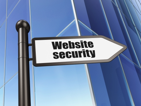 Protection concept  Website Security on Building background, 3d render Stock Photo - 19866427