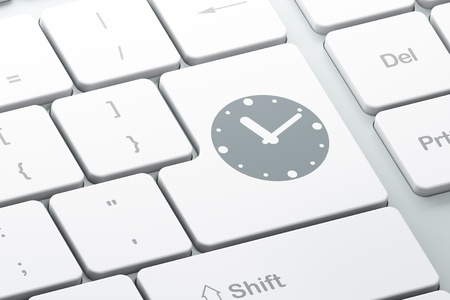 Timeline concept  Enter button with Clock on computer keyboard background, 3d render photo