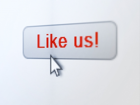 Social network concept  pixelated words Like us  on button whis Arrow cursor on digital computer screen background, selected focus 3d render Stock Photo - 19866395