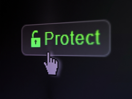 Privacy concept  pixelated words Protect and Opened Padlock icon on button whis Hand cursor on digital computer screen background, selected focus 3d render photo