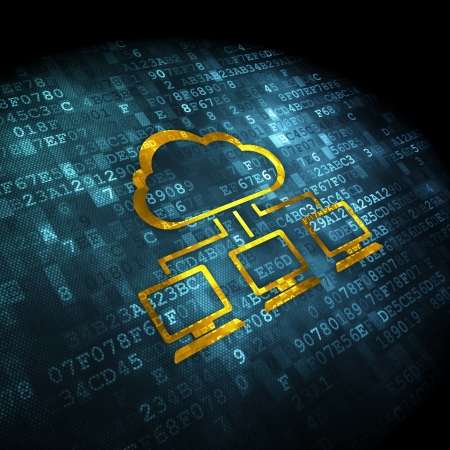 Cloud computing concept  pixelated Cloud Network icon on digital background, 3d render Stock Photo - 19866489