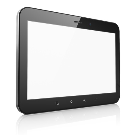 Black abstract tablet computer  tablet pc  on white background, 3d render  Modern portable touch pad device with white screen  photo