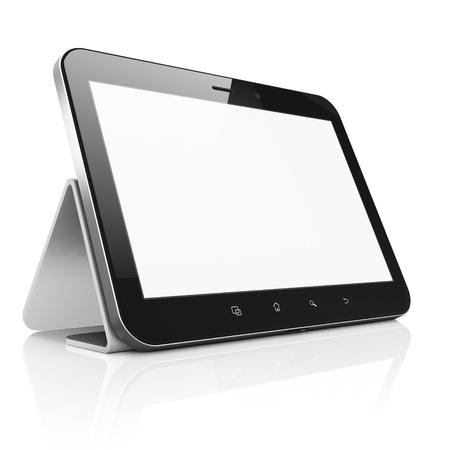 Zwarte abstracte tablet pc tablet pc met voet op een witte achtergrond, 3D render Moderne draagbare touchpad apparaat met wit scherm Stockfoto