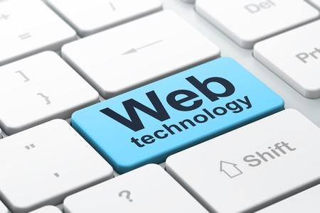 SEO web design concept computer toetsenbord met woord Web Technology, geselecteerd focus op enter-toets achtergrond, 3d render