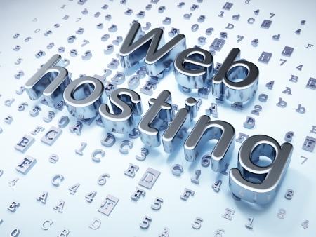 SEO web design concept  Silver Web Hosting on digital background, 3d render photo