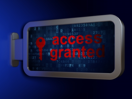 access granted: Privacy concept  Access Granted and Key on advertising billboard background, 3d render