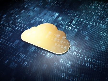 Cloud computing concept  Golden Cloud on digital background, 3d render photo