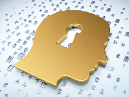 Education concept  Golden Head Whis Keyhole on digital background, 3d render photo