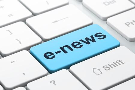 Nieuwsconcept computer toetsenbord met woord E-news, geselecteerd focus op enter-toets achtergrond, 3d render