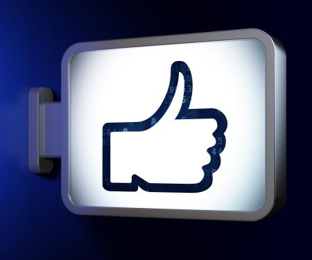 Social network concept  Like on advertising billboard background, 3d render photo
