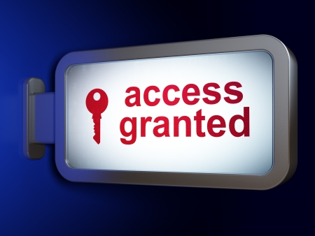 Security concept  Access Granted and Key on advertising billboard background, 3d render Stock Photo