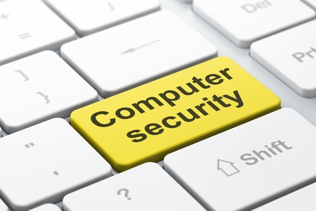Protection concept  computer keyboard with word Computer Security, selected focus on enter button background, 3d render Stock Photo - 20025926