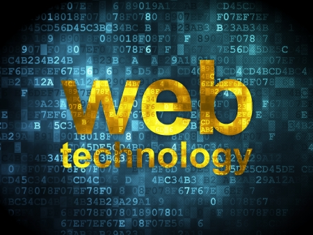 SEO web development concept  pixelated words Web Technology on digital background, 3d render Stock Photo - 20026197