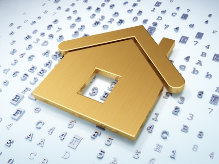 protection concept: Protection concept  Golden Home on digital background, 3d render