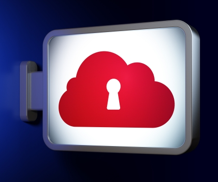 Cloud computing concept  Cloud Whis Keyhole on advertising billboard background, 3d render Stock Photo - 20025953