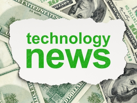 News concept  torn paper with words Technology News on Money background, 3d render photo