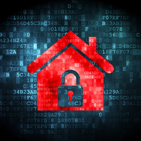 Security concept  pixelated Home icon on digital background, 3d render Stock Photo - 20026206