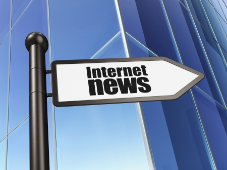 News concept  Internet News on Building background, 3d render photo