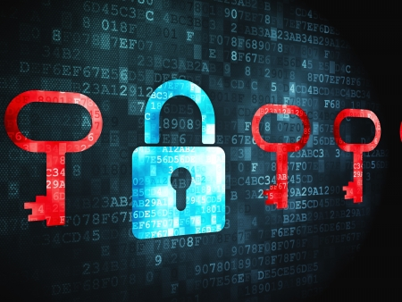 Privacy concept  pixelated Padlock And Key icon on digital background, 3d render photo